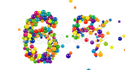 Number 66 as colorful balls over white. Colorful balls in red, blue, yellow, orange and green forming the number 66 over white background royalty free illustration