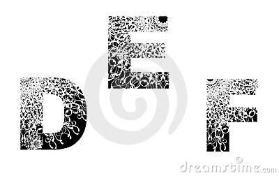 Number design element with floral texture D-E-F