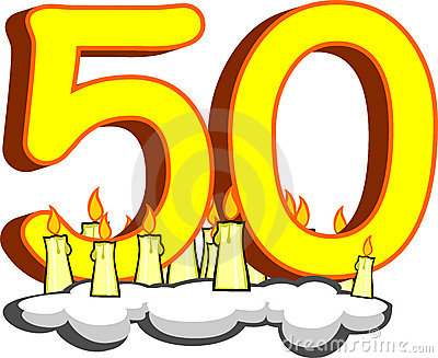 Number fifty with candles