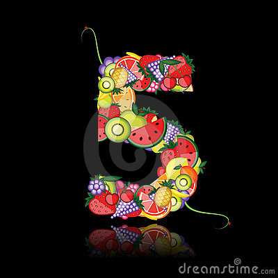 Number five made from fruits.