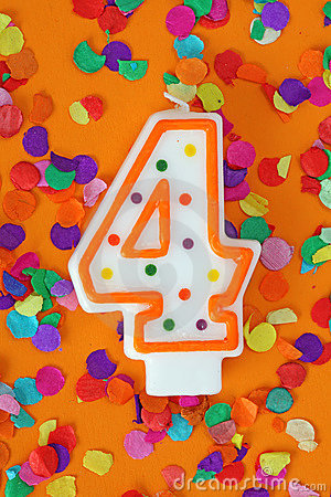 Number four birthday candle
