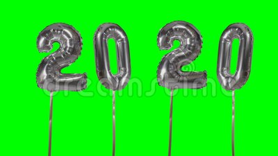 Number 2020 happy new year birthday anniversary celebration silver balloon floating on green screen background -. Number 2020 happy new year birthday anniversary stock video footage