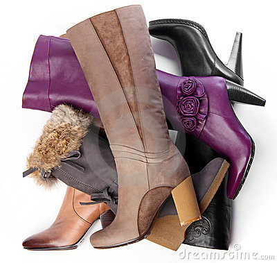 Number of high-heeled female boots