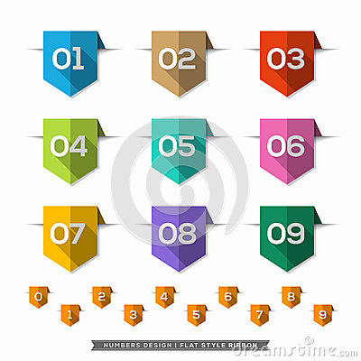 Free Number In Bookmark Label Long Shadow Flat Icons Set Stock Images - 41203734
