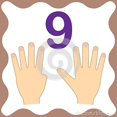 Number 9 nine, educational card,learning counting with fingers Vector Illustration