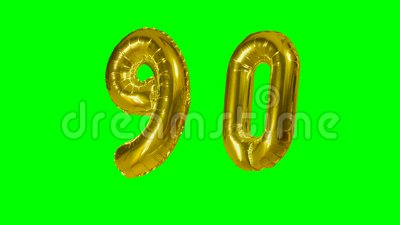 Number 90 ninety years birthday anniversary golden balloon floating on green screen -. Number 90 ninety years birthday anniversary golden balloon floating on stock video