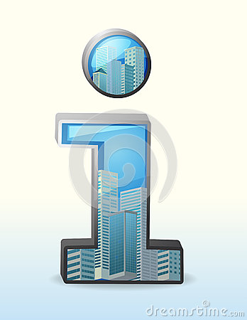 A number one symbol with tall buildings inside