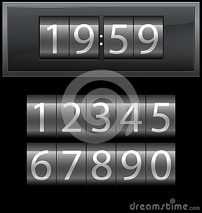 Number set from 1 to 9, digital clock, dark
