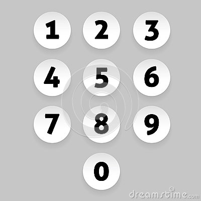 Free Number Set Circle Button Stock Photo - 98752500