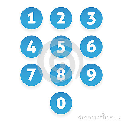 Free Number Set Circle Button Stock Image - 98752541