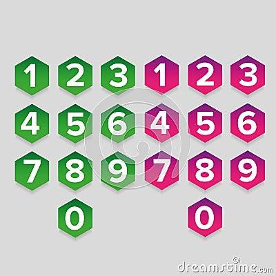Free Number Set Hexagon Button Stock Photo - 99078250