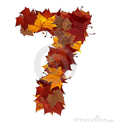 Number seven with fall leaves isolated