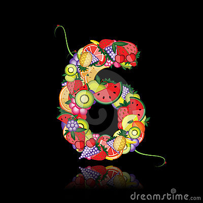 Number six made from fruits.