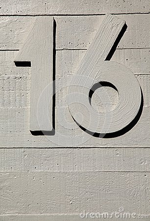 Number sixteen concrete wall