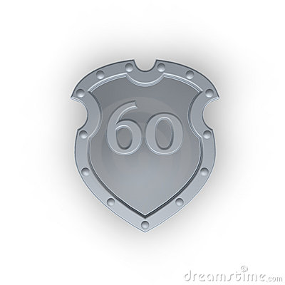 Number sixty on metal shield
