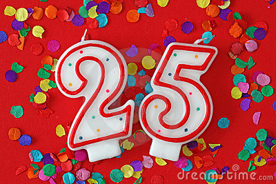 Number twenty five birthday candle