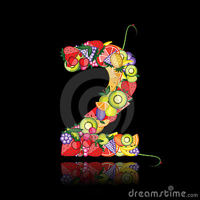 Number two made from fruits.
