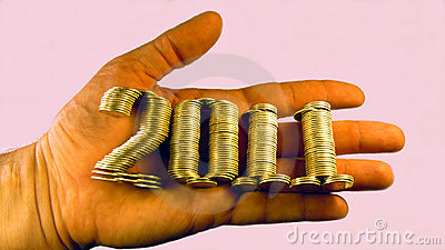 Number two thousand and eleven laid piles of coins