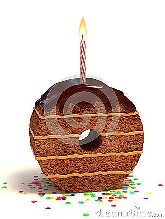 Number zero shape birthday cake