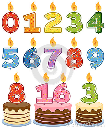 Free Numbered Birthday Candles Royalty Free Stock Images - 25629479