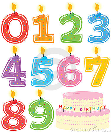 Numbered Birthday Candles and Cake Vector Illustration