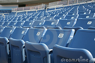 Numbered seats in a stadium