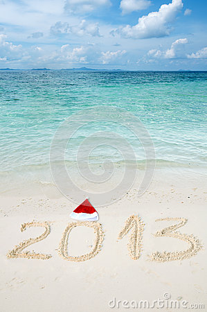 Numbers 2013 on tropical beach sand