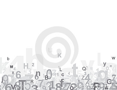 Numbers and alphabet letters