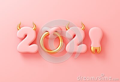 2021 With Numbers As Bull Horns, Hoof And Nose Ring On Pink Background. Concept Of Chinese New Year Of The Ox. Stock Photo