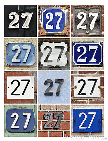 Numbers 27 Stock Photo