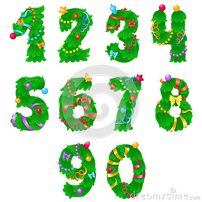 Free Numbers From One To Zero Like Christmas Tree With Ribbons And Garlands Stock Photography - 61428092