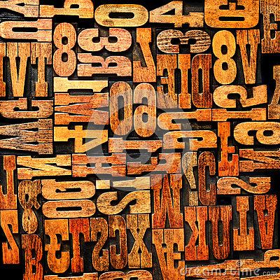 Numbers letters letterpress background