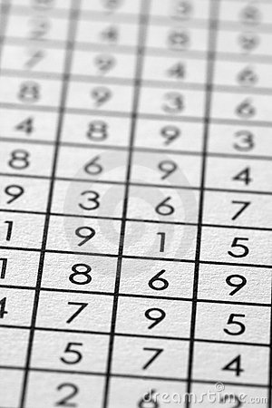 Numbers matrix on paper