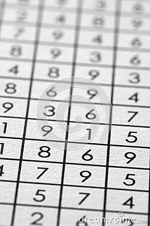 Numbers matrix on paper