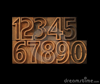 Numbers in outline type