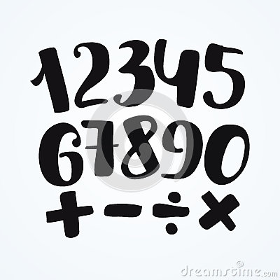 Free Numbers Set In Hand Drawn Calligraphy Style. Vector Design Template Elements. Stock Image - 91077201