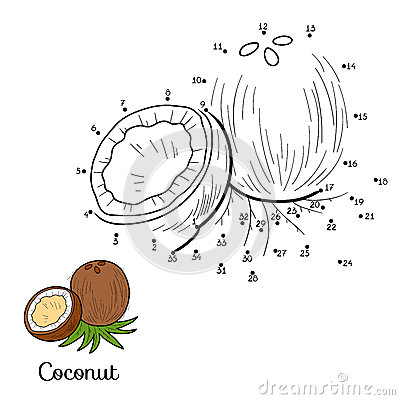 Free Numbers Vector Game: Fruits And Vegetables (coconut) Royalty Free Stock Images - 57611359