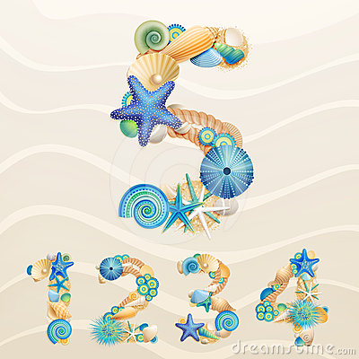 Free Numbers, Vector Sea Life Font On Sand Background. Royalty Free Stock Photos - 24554398