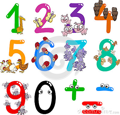 Free Numbers With Cartoon Animals Stock Image - 24866081