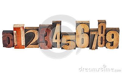 Numbers in wood type