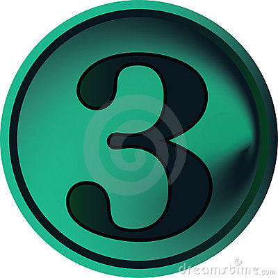 Numeral button-three