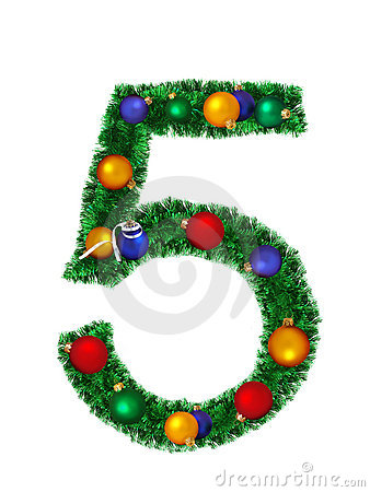 Numeral from christmas decoration - 5