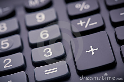Numeric pad of a calculator, closeup