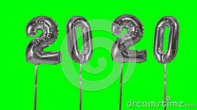 Numero pallone dell'argento di celebrazione di anniversario di compleanno di 2020 buoni anni che galleggia sul fondo di schermo v video d archivio
