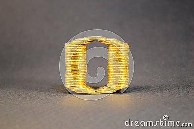 Nummer nul dat van muntstukken wordt gebouwd