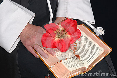 Nun hands with flower on bible