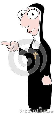 Nun pointing