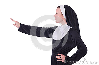 Nun pressing virtual buttons