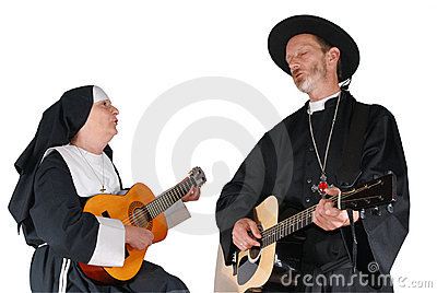 Nun and priest guitar