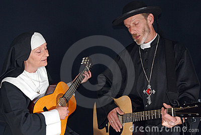 Nun and priest with guitar